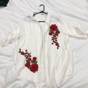 Tops - Rose Embroidered Blouse